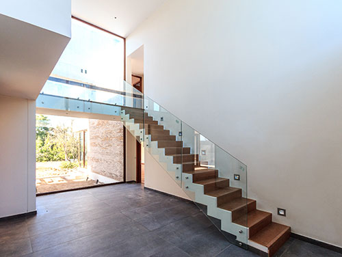 Glass railings on residential staircase, Glass Experts