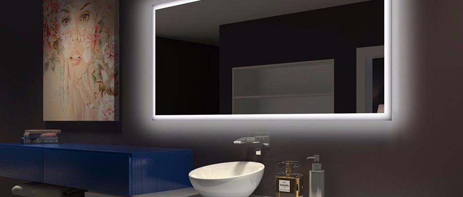 Miroir rétroéclairé de salle de bain avec lumière DEL ...