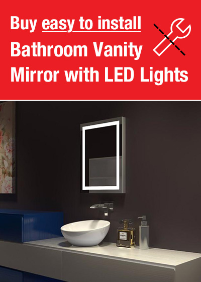 Buy easy to install bathroom vanity mirror with LED lights